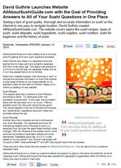 AllAboutSushiGuide.com Press Release